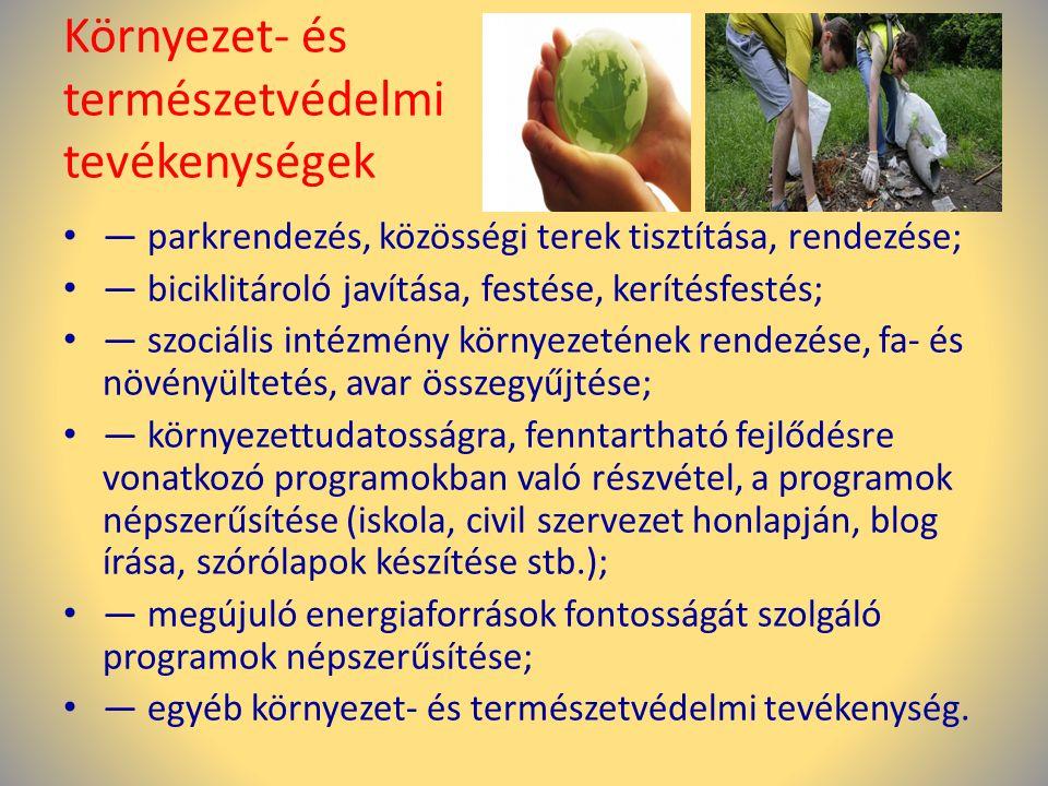 Környezet- és természetvédelmi tevékenységek • — parkrendezés, közösségi terek tisztítása, rendezése; • — biciklitároló javítása, festése, kerítésfest
