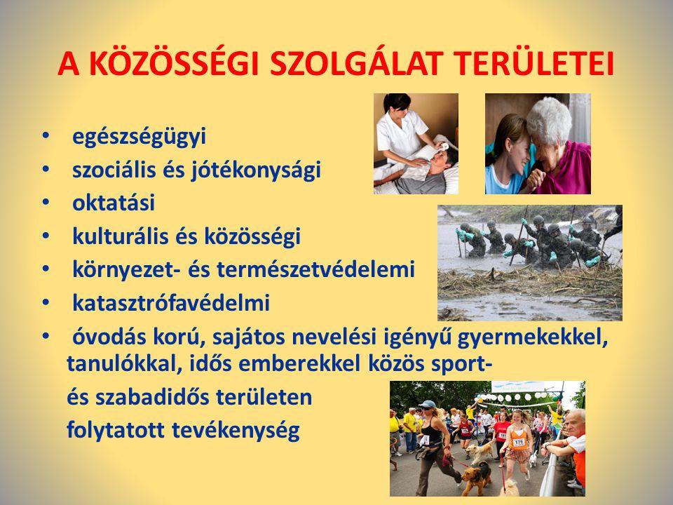 A KÖZÖSSÉGI SZOLGÁLAT TERÜLETEI • egészségügyi • szociális és jótékonysági • oktatási • kulturális és közösségi • környezet- és természetvédelemi • ka