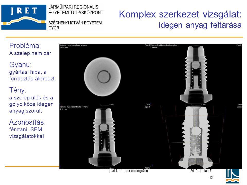 2012. június 7. Ipari komputer tomográfia 12 Komplex szerkezet vizsgálat: idegen anyag feltárása Probléma: A szelep nem zár Gyanú: gyártási hiba, a fo