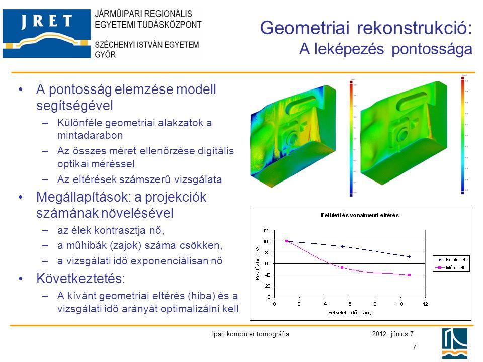 2012. június 7. Ipari komputer tomográfia 7 Geometriai rekonstrukció: A leképezés pontossága •A pontosság elemzése modell segítségével –Különféle geom
