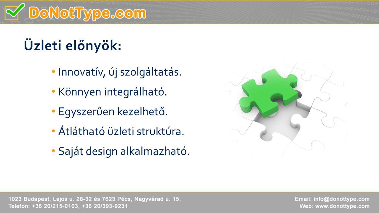 Üzleti előnyök: • Innovatív, új szolgáltatás. • Könnyen integrálható. • Egyszerűen kezelhető. • Átlátható üzleti struktúra. • Saját design alkalmazhat