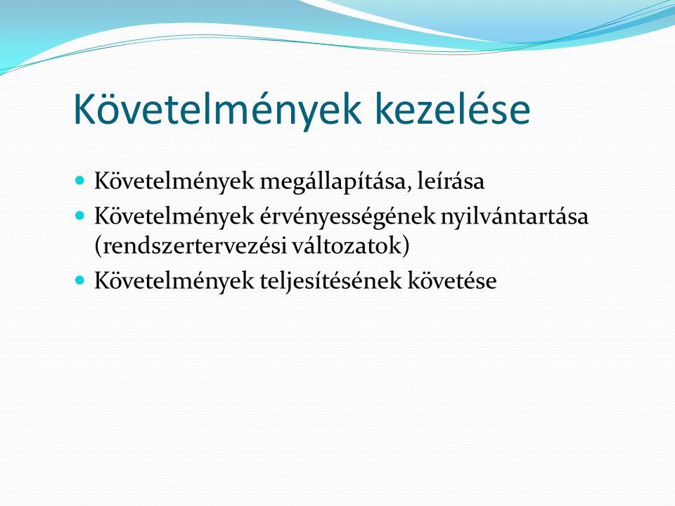 Követelmények kezelése  Követelmények megállapítása, leírása  Követelmények érvényességének nyilvántartása (rendszertervezési változatok)  Követelm