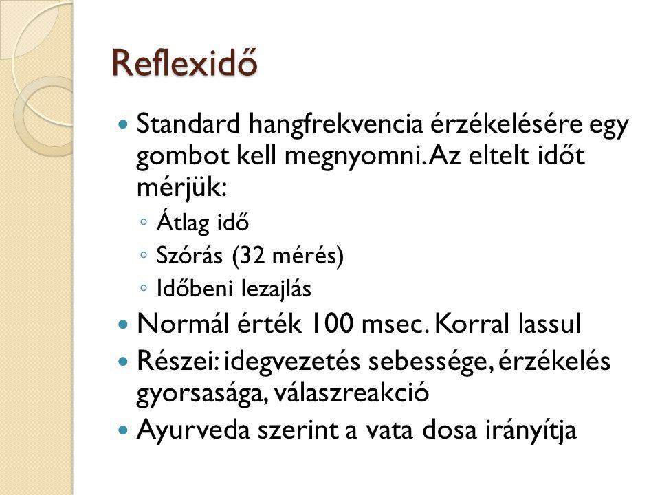 Reflexidő  Standard hangfrekvencia érzékelésére egy gombot kell megnyomni. Az eltelt időt mérjük: ◦ Átlag idő ◦ Szórás (32 mérés) ◦ Időbeni lezajlás