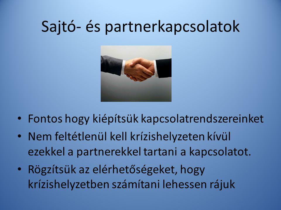 Sajtó- és partnerkapcsolatok • Fontos hogy kiépítsük kapcsolatrendszereinket • Nem feltétlenül kell krízishelyzeten kívül ezekkel a partnerekkel tarta