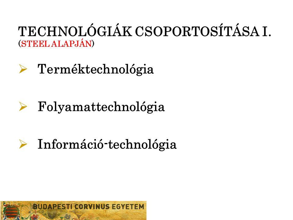 TECHNOLÓGIÁK CSOPORTOSÍTÁSA I. (STEEL ALAPJÁN)  Terméktechnológia  Folyamattechnológia  Információ-technológia