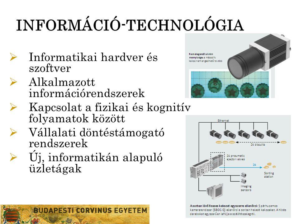 INFORMÁCIÓ-TECHNOLÓGIA  Informatikai hardver és szoftver  Alkalmazott információrendszerek  Kapcsolat a fizikai és kognitív folyamatok között  Vál