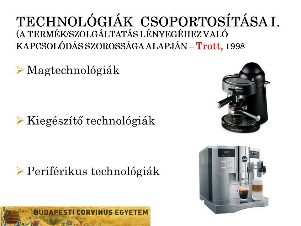 TECHNOLÓGIÁK CSOPORTOSÍTÁSA I. (A TERMÉK/SZOLGÁLTATÁS LÉNYEGÉHEZ VALÓ KAPCSOLÓDÁS SZOROSSÁGA ALAPJÁN – Trott, 1998  Magtechnológiák  Kiegészítő tech