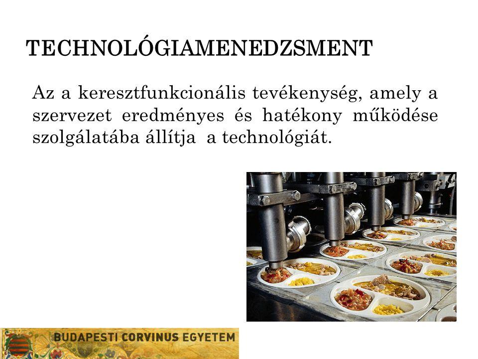 TECHNOLÓGIAMENEDZSMENT Az a keresztfunkcionális tevékenység, amely a szervezet eredményes és hatékony működése szolgálatába állítja a technológiát.