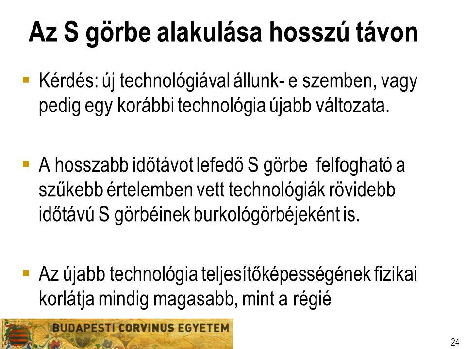 Az S görbe alakulása hosszú távon  Kérdés: új technológiával állunk- e szemben, vagy pedig egy korábbi technológia újabb változata.  A hosszabb időt
