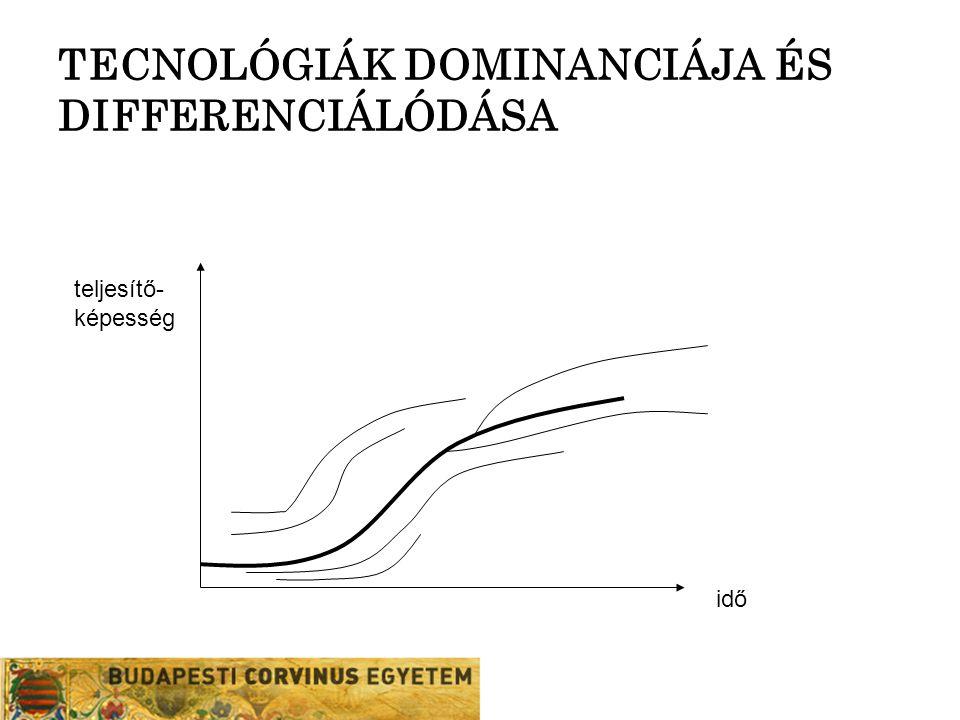 TECNOLÓGIÁK DOMINANCIÁJA ÉS DIFFERENCIÁLÓDÁSA teljesítő- képesség idő