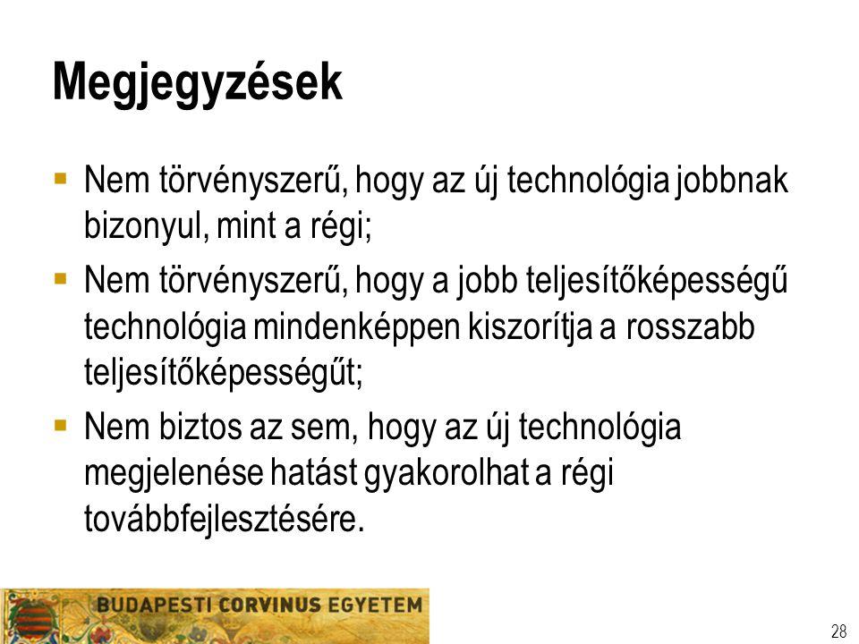 Megjegyzések  Nem törvényszerű, hogy az új technológia jobbnak bizonyul, mint a régi;  Nem törvényszerű, hogy a jobb teljesítőképességű technológia