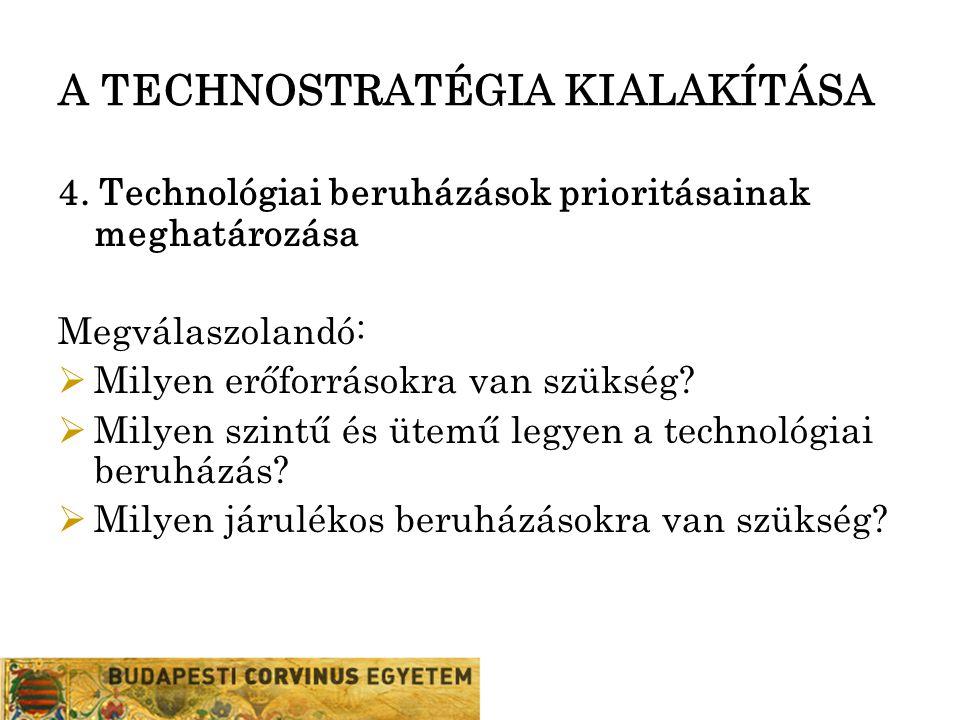 A TECHNOSTRATÉGIA KIALAKÍTÁSA 4. Technológiai beruházások prioritásainak meghatározása Megválaszolandó:  Milyen erőforrásokra van szükség?  Milyen s