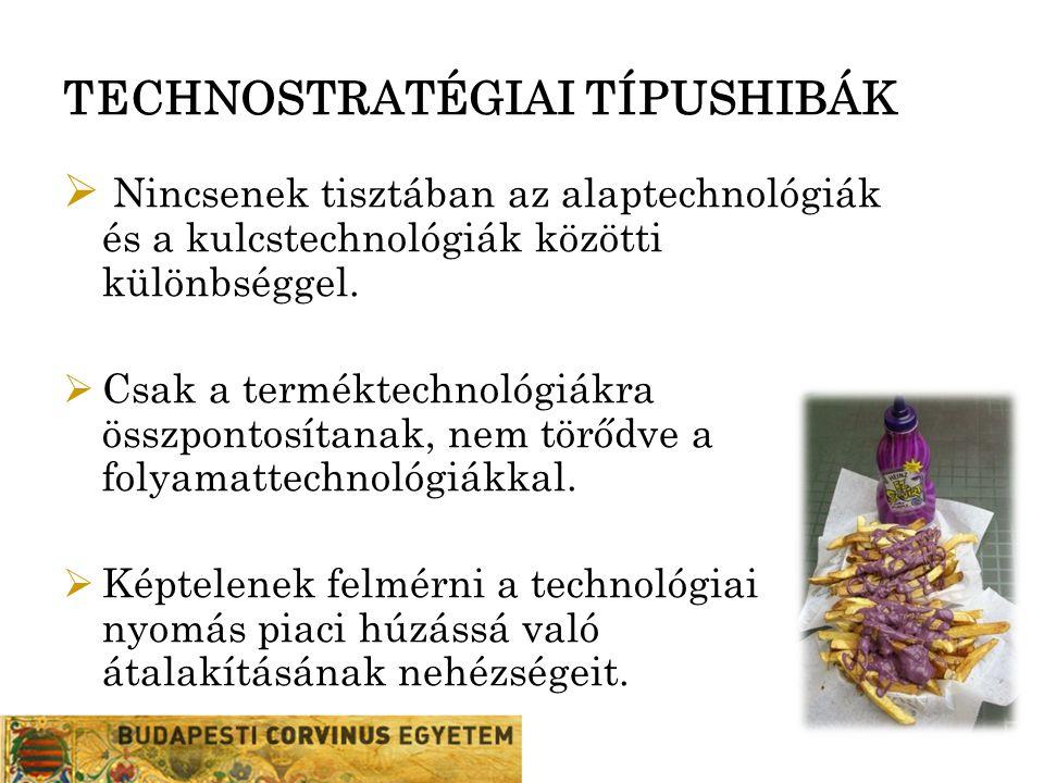 TECHNOSTRATÉGIAI TÍPUSHIBÁK  Nincsenek tisztában az alaptechnológiák és a kulcstechnológiák közötti különbséggel.  Csak a terméktechnológiákra összp