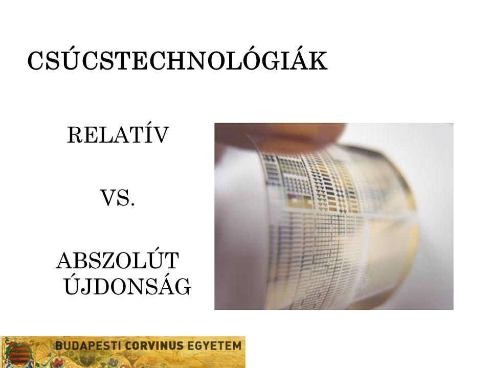 CSÚCSTECHNOLÓGIÁK RELATÍV VS. ABSZOLÚT ÚJDONSÁG