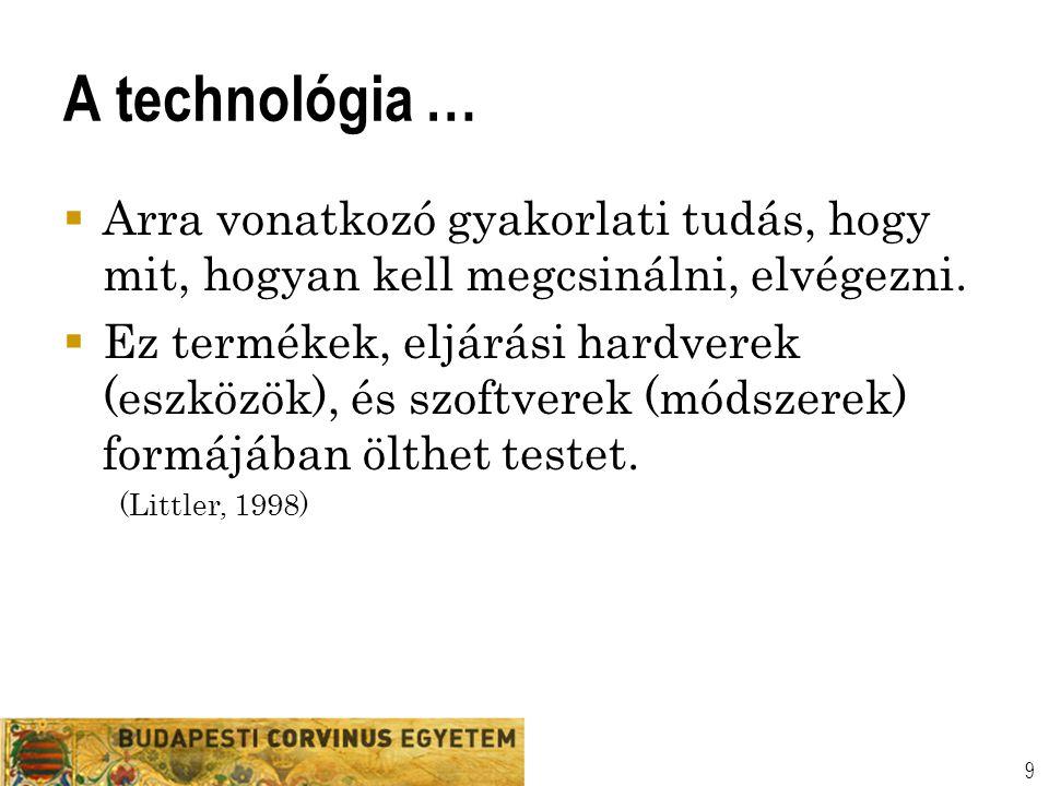 A technológia …  Arra vonatkozó gyakorlati tudás, hogy mit, hogyan kell megcsinálni, elvégezni.  Ez termékek, eljárási hardverek (eszközök), és szof