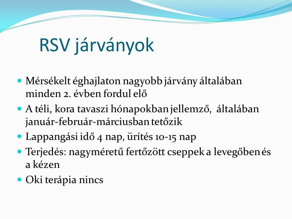 RSV járványok  Mérsékelt éghajlaton nagyobb járvány általában minden 2. évben fordul elő  A téli, kora tavaszi hónapokban jellemző, általában január