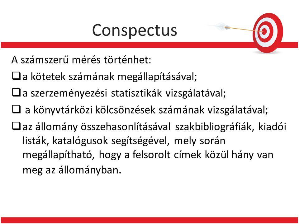 Conspectus A számszerű mérés történhet:  a kötetek számának megállapításával;  a szerzeményezési statisztikák vizsgálatával;  a könyvtárközi kölcsönzések számának vizsgálatával;  az állomány összehasonlításával szakbibliográfiák, kiadói listák, katalógusok segítségével, mely során megállapítható, hogy a felsorolt címek közül hány van meg az állományban.