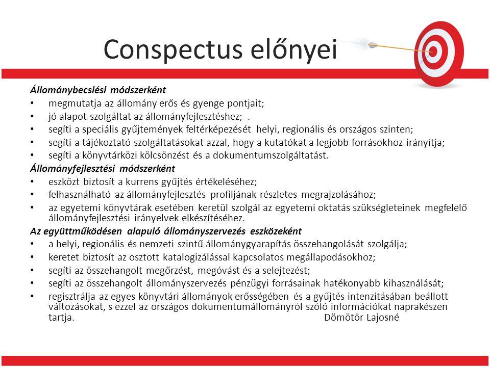 Conspectus előnyei Állománybecslési módszerként • megmutatja az állomány erős és gyenge pontjait; • jó alapot szolgáltat az állományfejlesztéshez;.
