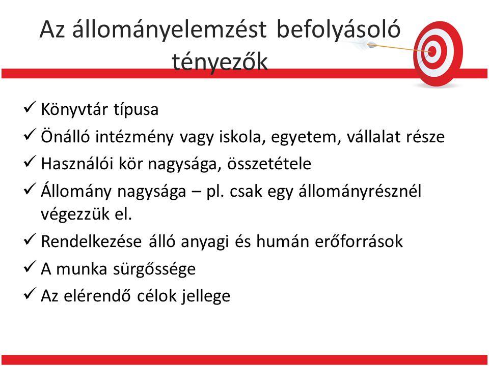 Ajánlott irodalom  Dömötör Lajosné: Állománybecslés magyar felsőoktatási könyvtárakban: Conspectus típusú állománybecslés végrehajtásának lehetősége.