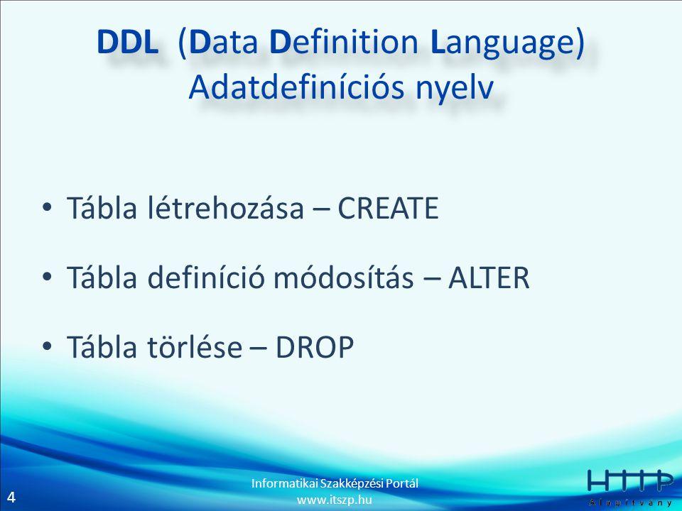 4 Informatikai Szakképzési Portál www.itszp.hu DDL (Data Definition Language) Adatdefiníciós nyelv • Tábla létrehozása – CREATE • Tábla definíció módosítás – ALTER • Tábla törlése – DROP