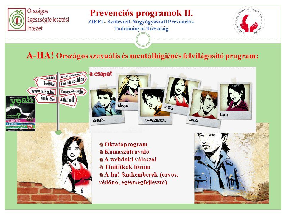 Prevenciós programok II. OEFI - Szülészeti Nőgyógyászati Prevenciós Tudományos Társaság A-HA! Országos szexuális és mentálhigiénés felvilágosító progr