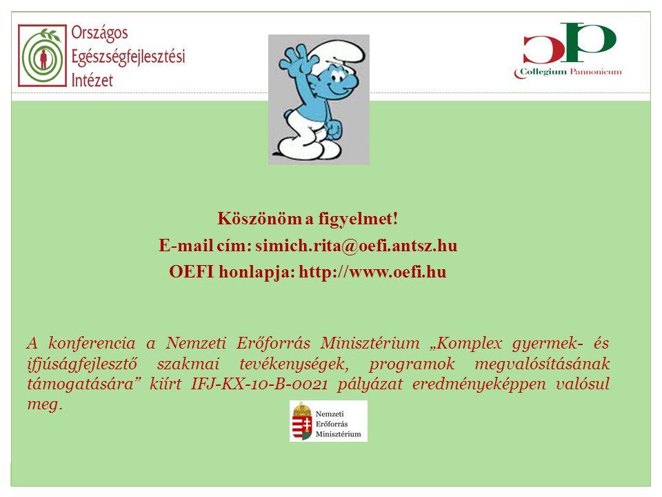 """Köszönöm a figyelmet! E-mail cím: simich.rita@oefi.antsz.hu OEFI honlapja: http://www.oefi.hu A konferencia a Nemzeti Erőforrás Minisztérium """"Komplex"""