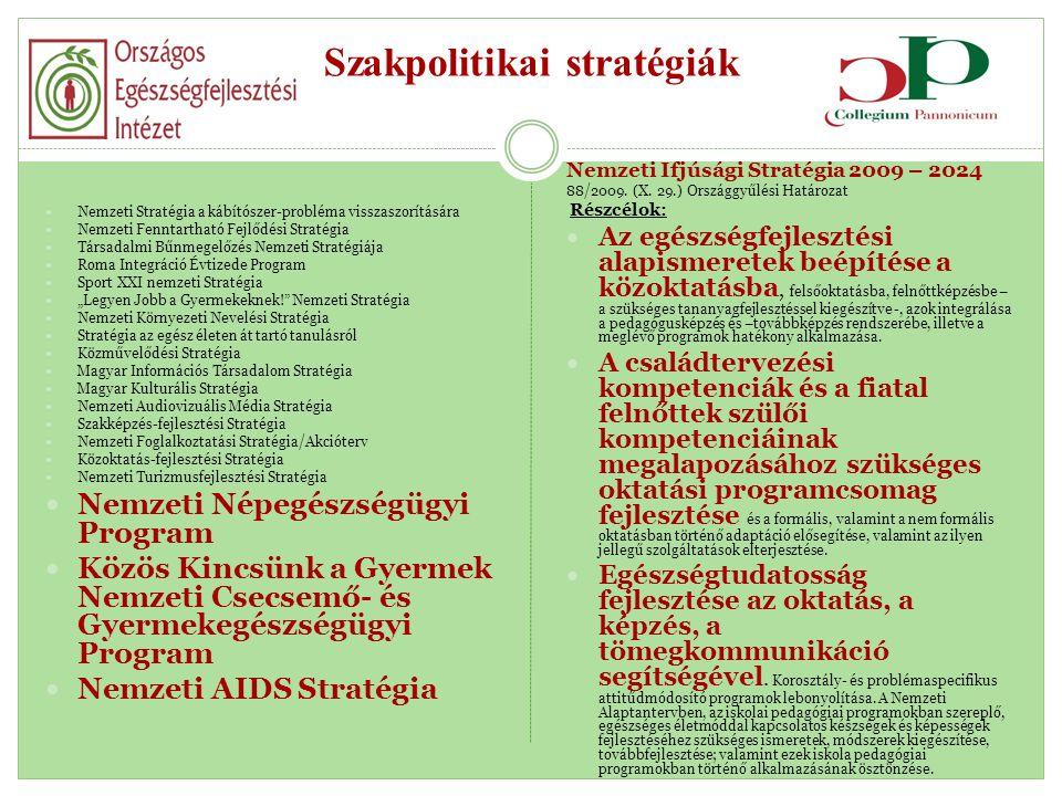 Szakpolitikai stratégiák  Nemzeti Stratégia a kábítószer-probléma visszaszorítására  Nemzeti Fenntartható Fejlődési Stratégia  Társadalmi Bűnmegelő
