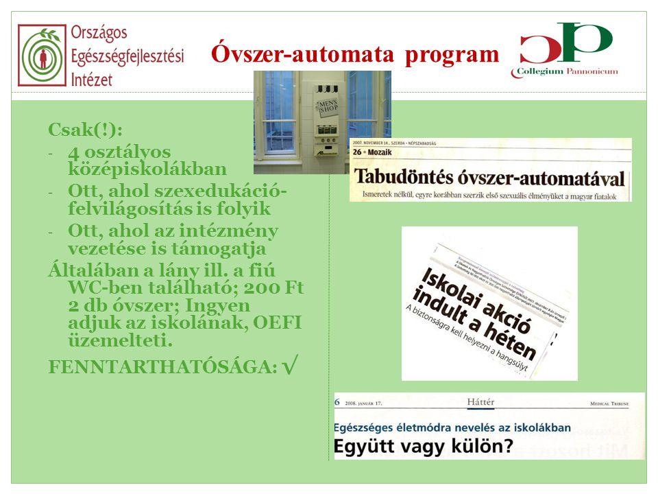 Óvszer-automata program Csak(!): - 4 osztályos középiskolákban - Ott, ahol szexedukáció- felvilágosítás is folyik - Ott, ahol az intézmény vezetése is