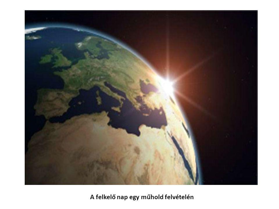 A felkelő nap egy műhold felvételén