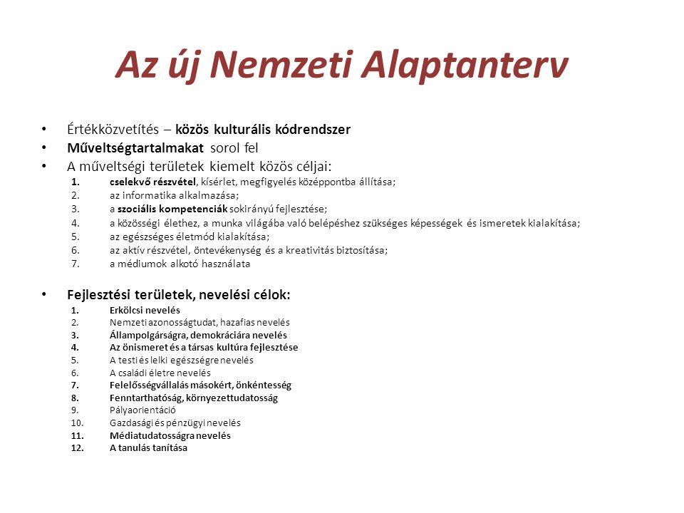 Az új Nemzeti Alaptanterv • Értékközvetítés – közös kulturális kódrendszer • Műveltségtartalmakat sorol fel • A műveltségi területek kiemelt közös cél
