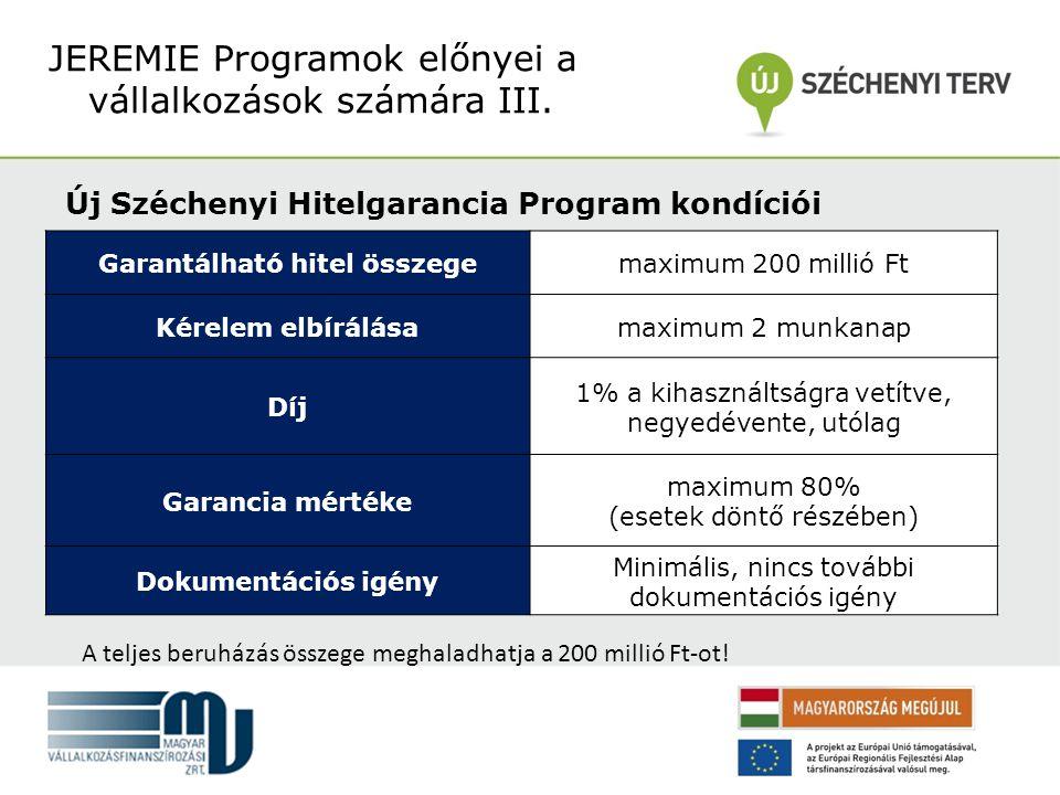 Új Széchenyi Hitelgarancia Program kondíciói JEREMIE Programok előnyei a vállalkozások számára III.