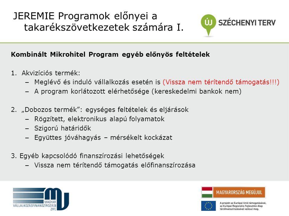 """Kombinált Mikrohitel Program egyéb előnyös feltételek 1.Akvizíciós termék: – Meglévő és induló vállalkozás esetén is (Vissza nem térítendő támogatás!!!) – A program korlátozott elérhetősége (kereskedelmi bankok nem) 2.""""Dobozos termék : egységes feltételek és eljárások – Rögzített, elektronikus alapú folyamatok – Szigorú határidők – Együttes jóváhagyás – mérsékelt kockázat 3."""