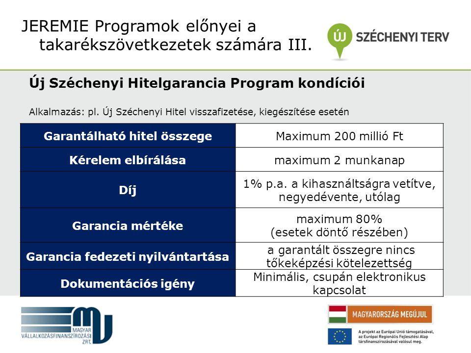 Új Széchenyi Hitelgarancia Program kondíciói Alkalmazás: pl.