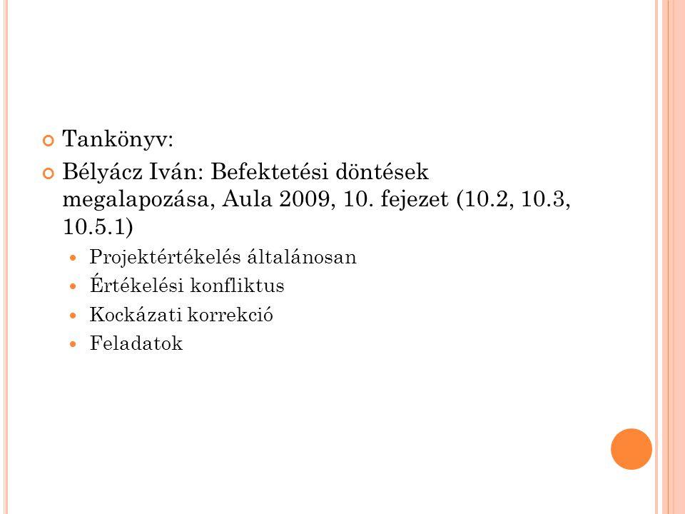Tankönyv: Bélyácz Iván: Befektetési döntések megalapozása, Aula 2009, 10. fejezet (10.2, 10.3, 10.5.1)  Projektértékelés általánosan  Értékelési kon