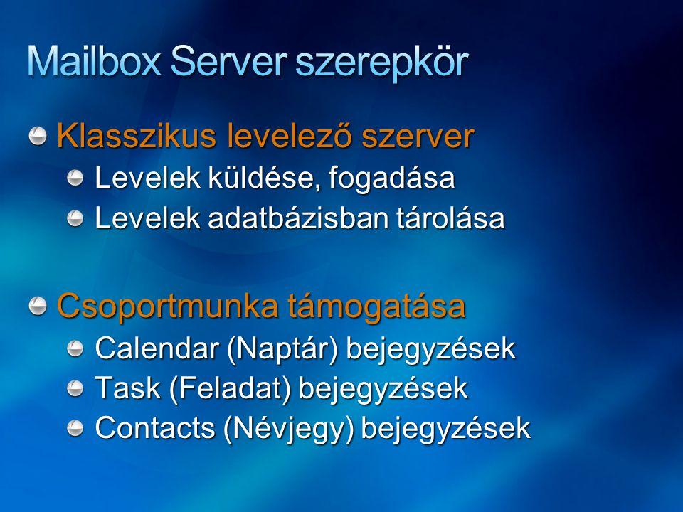 Klasszikus levelező szerver Levelek küldése, fogadása Levelek adatbázisban tárolása Csoportmunka támogatása Calendar (Naptár) bejegyzések Task (Felada