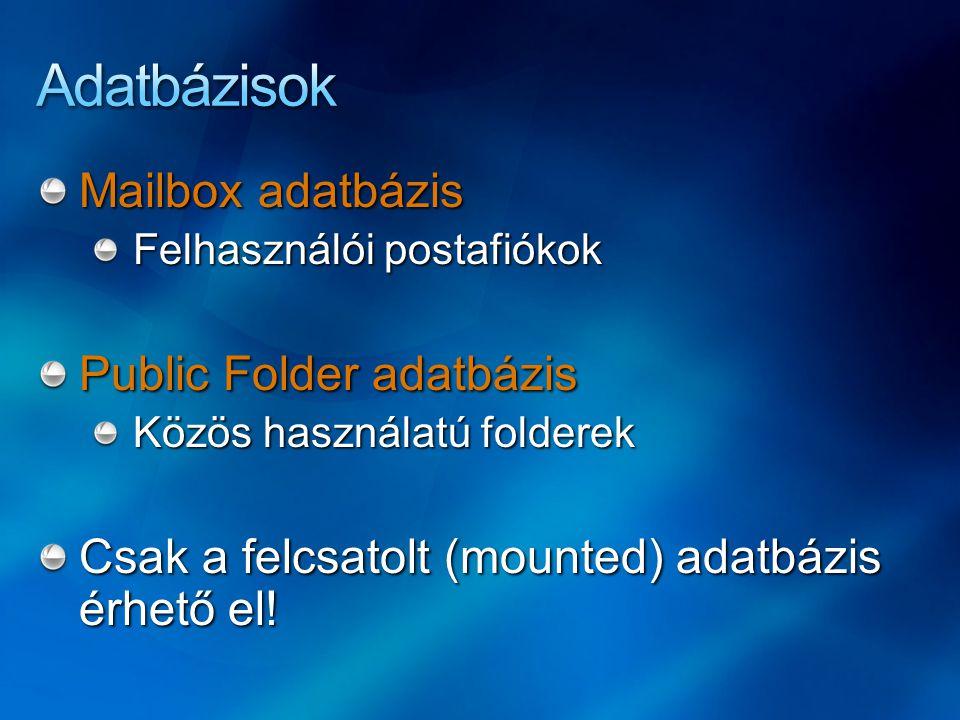 Mailbox adatbázis Felhasználói postafiókok Public Folder adatbázis Közös használatú folderek Csak a felcsatolt (mounted) adatbázis érhető el!