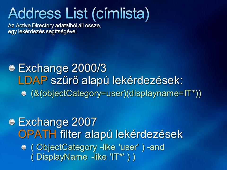 Az Active Directory adataiból áll össze, egy lekérdezés segítségével Exchange 2000/3 LDAP szűrő alapú lekérdezések: (&(objectCategory=user)(displaynam