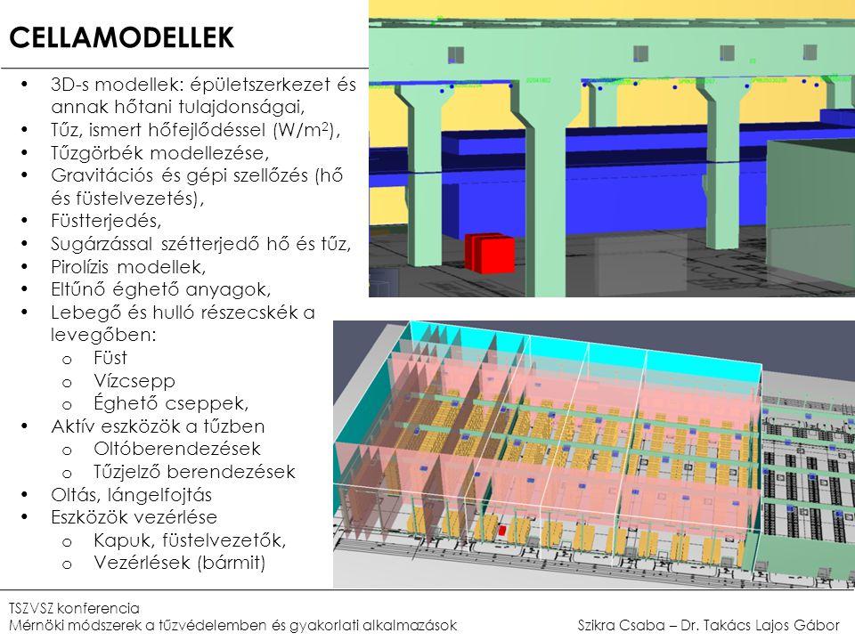 CELLAMODELLEK •3D-s modellek: épületszerkezet és annak hőtani tulajdonságai, •Tűz, ismert hőfejlődéssel (W/m 2 ), •Tűzgörbék modellezése, •Gravitációs