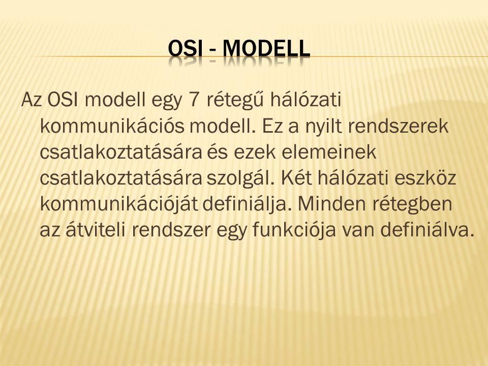 Az OSI modell egy 7 rétegű hálózati kommunikációs modell. Ez a nyilt rendszerek csatlakoztatására és ezek elemeinek csatlakoztatására szolgál. Két hál