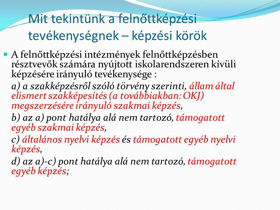 Mit tekintünk a felnőttképzési tevékenységnek – képzési körök  A felnőttképzési intézmények felnőttképzésben résztvevők számára nyújtott iskolarendszeren kívüli képzésére irányuló tevékenysége : a) a szakképzésről szóló törvény szerinti, állam által elismert szakképesítés (a továbbiakban: OKJ) megszerzésére irányuló szakmai képzés, b) az a) pont hatálya alá nem tartozó, támogatott egyéb szakmai képzés, c) általános nyelvi képzés és támogatott egyéb nyelvi képzés, d) az a)-c) pont hatálya alá nem tartozó, támogatott egyéb képzés;