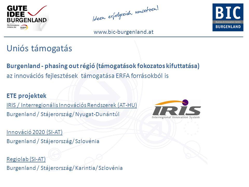 www.bic-burgenland.at Uniós támogatás Burgenland - phasing out régió (támogatások fokozatos kifuttatása) az innovációs fejlesztések támogatása ERFA fo