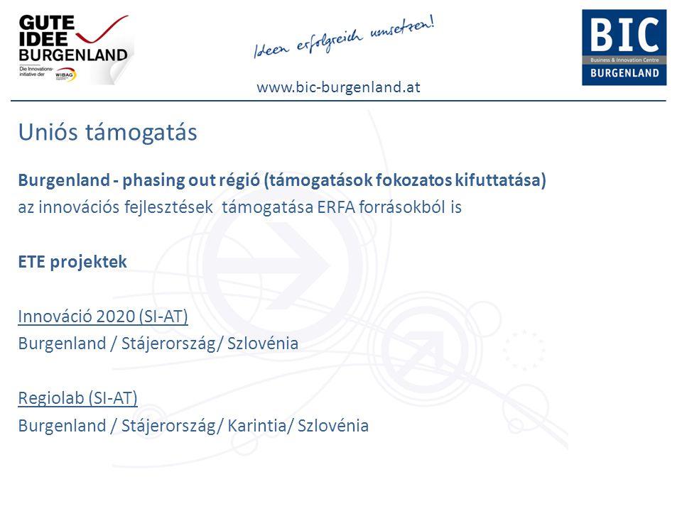 www.bic-burgenland.at Uniós támogatás Burgenland - phasing out régió (támogatások fokozatos kifuttatása) az innovációs fejlesztések támogatása ERFA forrásokból is ETE projektek Innováció 2020 (SI-AT) Burgenland / Stájerország/ Szlovénia Regiolab (SI-AT) Burgenland / Stájerország/ Karintia/ Szlovénia