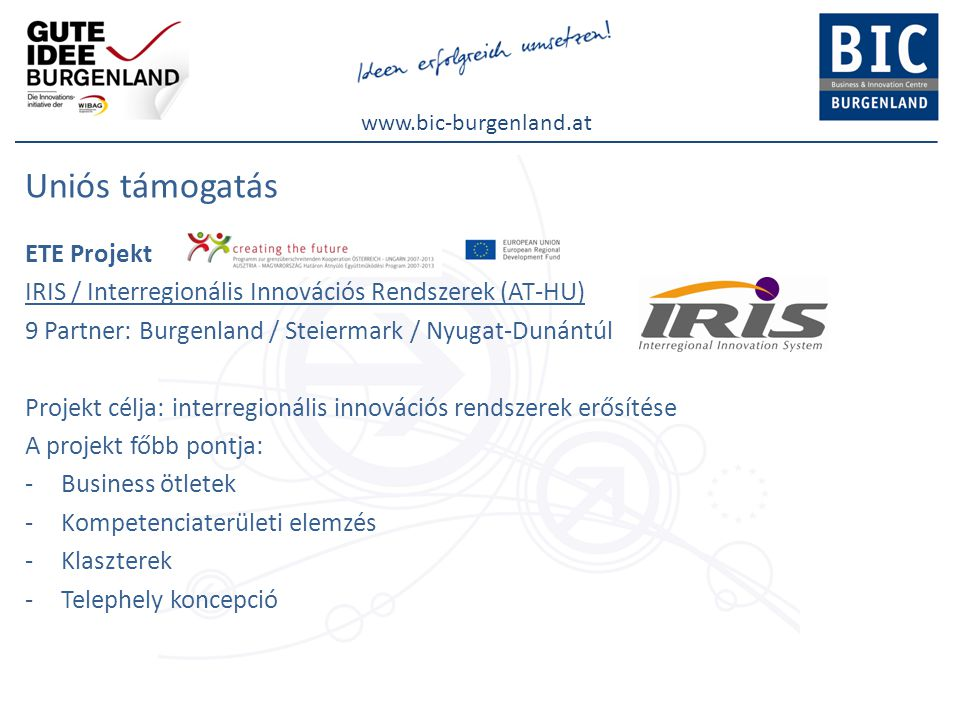 www.bic-burgenland.at Uniós támogatás ETE Projekt IRIS / Interregionális Innovációs Rendszerek (AT-HU) 9 Partner: Burgenland / Steiermark / Nyugat-Dunántúl Projekt célja: interregionális innovációs rendszerek erősítése A projekt főbb pontja: -Business ötletek -Kompetenciaterületi elemzés -Klaszterek -Telephely koncepció