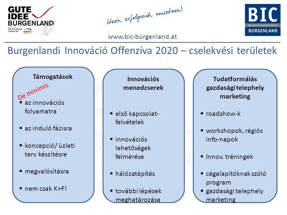 www.bic-burgenland.at Burgenlandi Innováció Offenzíva 2020 – cselekvési területek Támogatások  az innovációs folyamatra  az induló fázisra  koncepc
