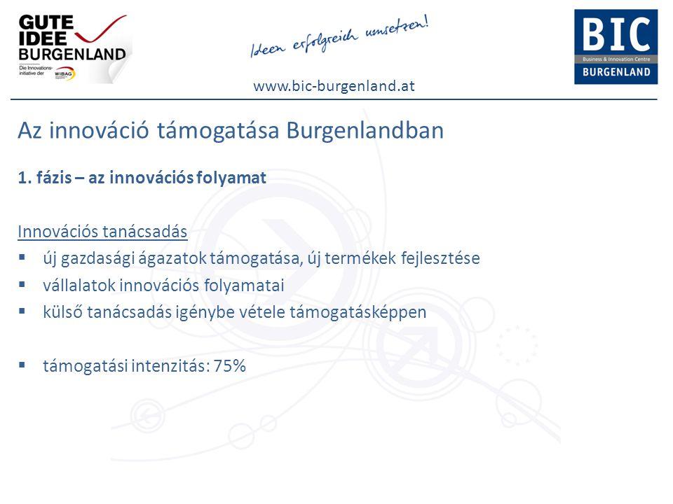 www.bic-burgenland.at Az innováció támogatása Burgenlandban 1. fázis – az innovációs folyamat Innovációs tanácsadás  új gazdasági ágazatok támogatása