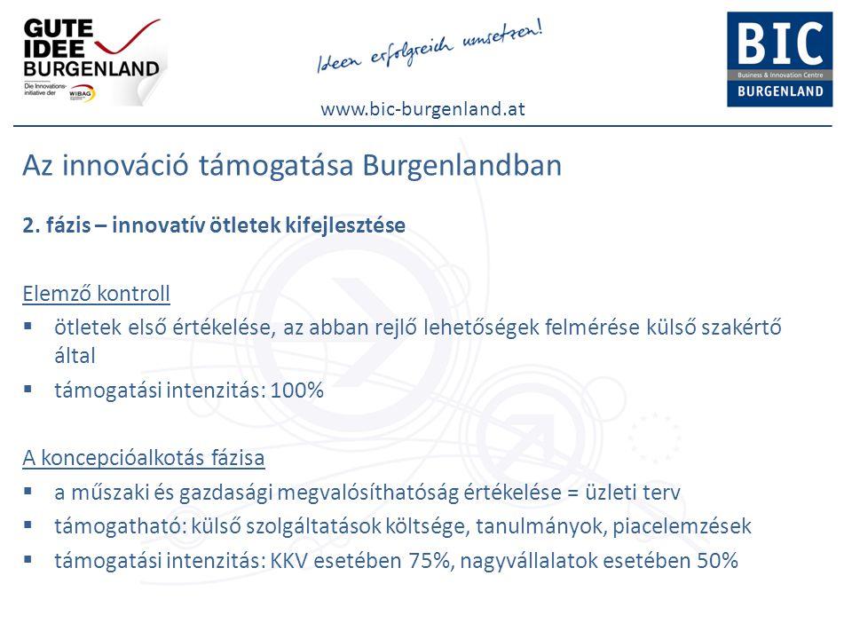 www.bic-burgenland.at Az innováció támogatása Burgenlandban 2. fázis – innovatív ötletek kifejlesztése Elemző kontroll  ötletek első értékelése, az a