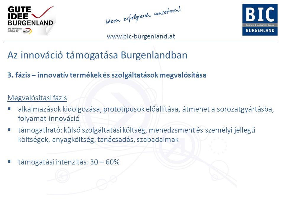 www.bic-burgenland.at Uniós támogatás Burgenland - phasing out régió (támogatások fokozatos kifuttatása) az innovációs fejlesztések támogatása ERFA forrásokból is ETE projektek IRIS / Interregionális Innovációs Rendszerek (AT-HU) Burgenland / Stájerország/ Nyugat-Dunántúl Innováció 2020 (SI-AT) Burgenland / Stájerország/ Szlovénia Regiolab (SI-AT) Burgenland / Stájerország/ Karintia/ Szlovénia