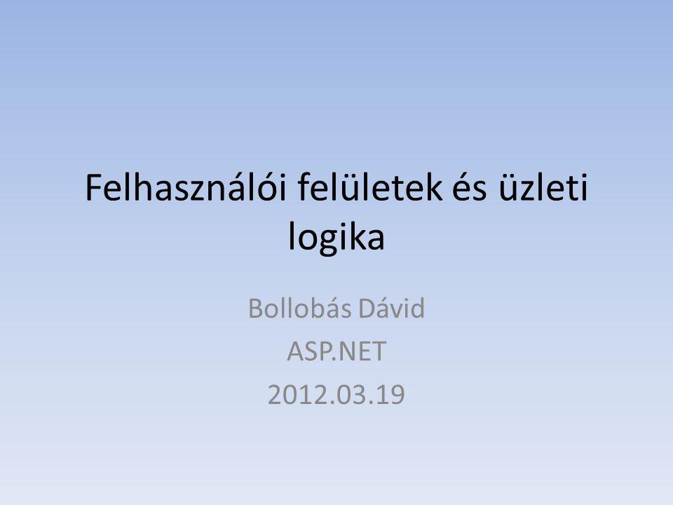 Felhasználói felületek és üzleti logika Bollobás Dávid ASP.NET 2012.03.19