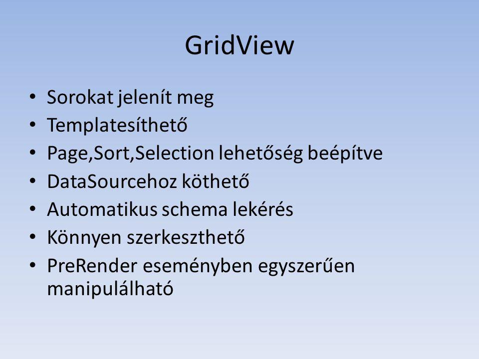 GridView • Sorokat jelenít meg • Templatesíthető • Page,Sort,Selection lehetőség beépítve • DataSourcehoz köthető • Automatikus schema lekérés • Könnyen szerkeszthető • PreRender eseményben egyszerűen manipulálható