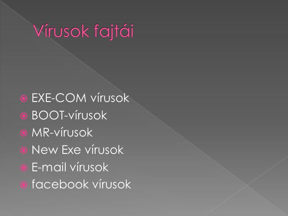  EXE-COM vírusok  BOOT-vírusok  MR-vírusok  New Exe vírusok  E-mail vírusok  facebook vírusok